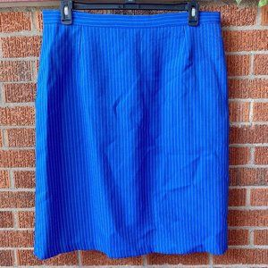 Vintage Blue Lined Pencil Skirt Midi Size 16